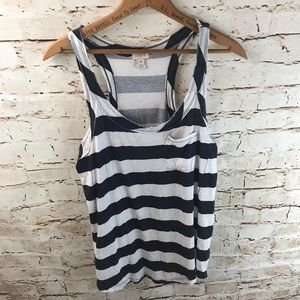 J. Crew Striped Frayed Racerback Tank Top